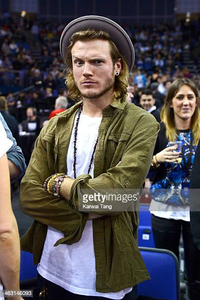 Dougie Poynter attends the NBA Live basketball match between the Brooklyn Nets and Atlanta Hawks at the 02 Arena on January 16 2014 in London England