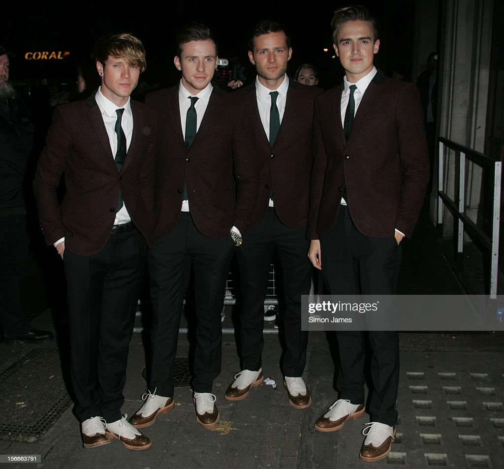 Dougie Poynter, Danny Jones, Harry Judd and Tom Fletcher of McFly sighting on November 18, 2012 in London, England.