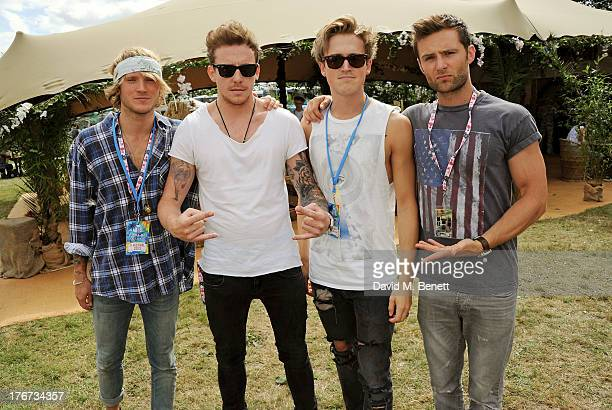 Dougie Poynter Danny Jones Tom Fletcher and Harry Judd of McFly attend the Mahiki Coconut Backstage Bar during day 2 of V Festival 2013 at Hylands...