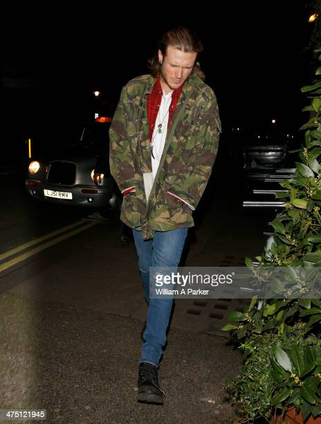 Dougie Poynter is seen arriving at Ellie Gouldings house on February 26 2014 in London England