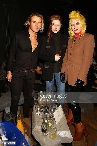 Dougie Poynter Nicola Roberts and Pam Hogg attend the launch of Zebrano Restaurant on November 4 2015 in London England
