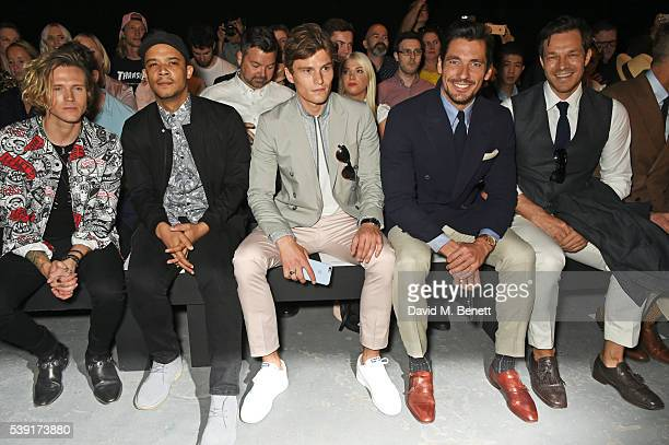 Dougie Poynter Raleigh Ritchie Oliver Cheshire David Gandy and Paul Sculfor attend the TOPMAN Design show during The London Collections Men SS17 at...