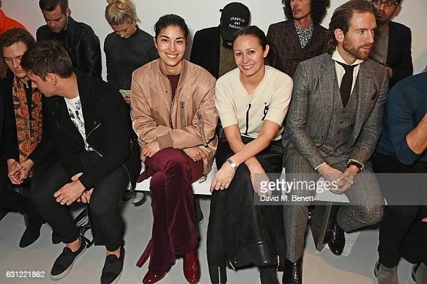 Dougie Poynter Tom Daley Caroline Issa Caroline Rush and Craig McGinlay attend the Christopher Raeburn show during London Fashion Week Men's January...