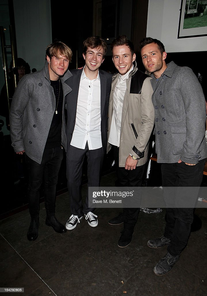Dougie Poynter writer James Bourne Danny Jones and Harry Judd of McFly attend an after party following the press night performance of 'Loserville' at...