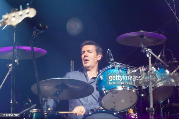 Dougie Vipond of Scottish pop rock band Deacon Blue performs on stage at Edinburgh Castle on July 22 2017 in Edinburgh Scotland