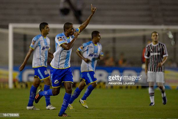 Douglas Assis of Macae celebrates a scored goal during the match between Fluminense and MacaeŽ as part of Carioca Championship 2013 at Sao Januario...