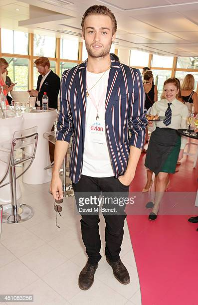 Douglas Booth attends the evian Live Young suite on the opening day of Wimbledon at the All England Lawn Tennis and Croquet Club on June 23 2014 in...