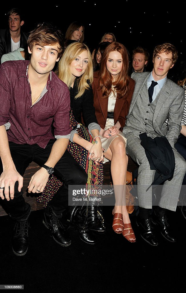Douglas Booth, Fearne Cotton, Karen Gillan, Benedict Cumberbatch sit in the front row at the Mulberry Salon Show at London Fashion Week Autumn/Winter 2011 at Claridge's Hotel on February 20, 2011 in London, England.