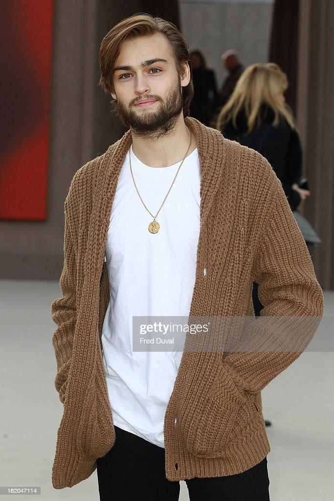 Douglas Booth is pictured arriving at the Burberry Prorsum during London Fashion Week on February 18, 2013 in London, England.