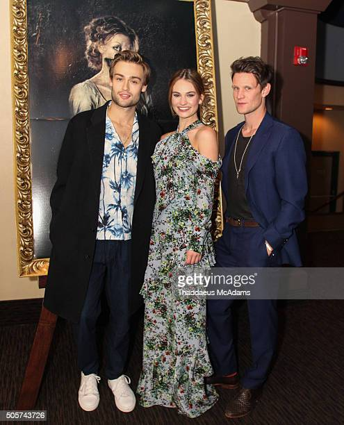 Douglas Booth Lily James and Matt Smith attend The 'Pride and Prejudice and Zombies' Screening on January 19 2016 in Coconut Grove Florida