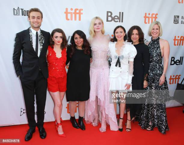 Douglas Booth Maisie Williams Haifaa AlMansour Elle Fanning Bel Powley Joannie Burstein and Emma Jensen attend the 'Mary Shelley' premiere during the...