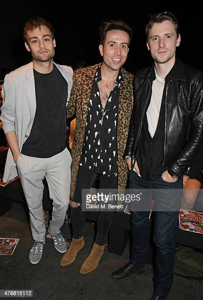 Douglas Booth Nick Grimshaw and George Barnett attend the Topman Design show during London Collections Men SS16 at The Old Sorting Office on June 12...