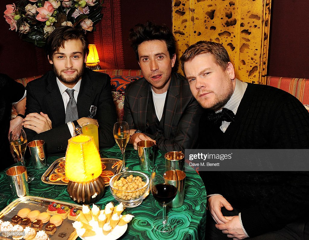 Douglas Booth, Nick Grimshaw and James Corden attend a private dinner hosted by Tom Ford to celebrate his runway show during London Collections: MEN AW13 at Loulou's on January 9, 2013 in London, England.