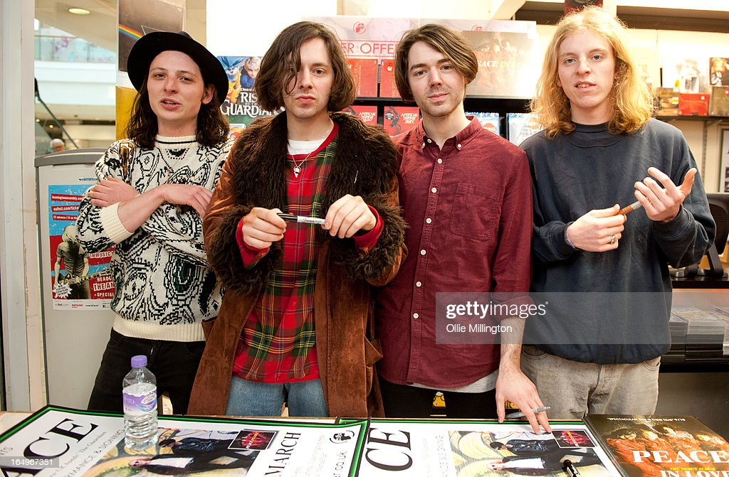 Douglas Castle, Harrison Koisser, Sam Koisser and Dominic Boyce of Peace pose for a photograph after their Instore Gig at Head Records to promote their debut album 'In Love' on March 29, 2013 in Leamington Spa, England.