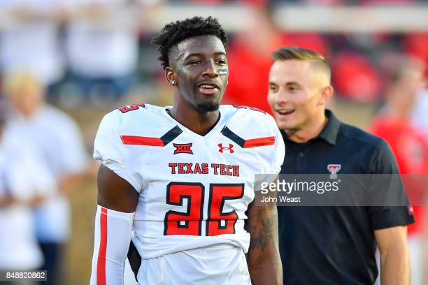 Douglas Coleman III of the Texas Tech Red Raiders on the field before the game between the Texas Tech Red Raiders and the Arizona State Sun Devils on...