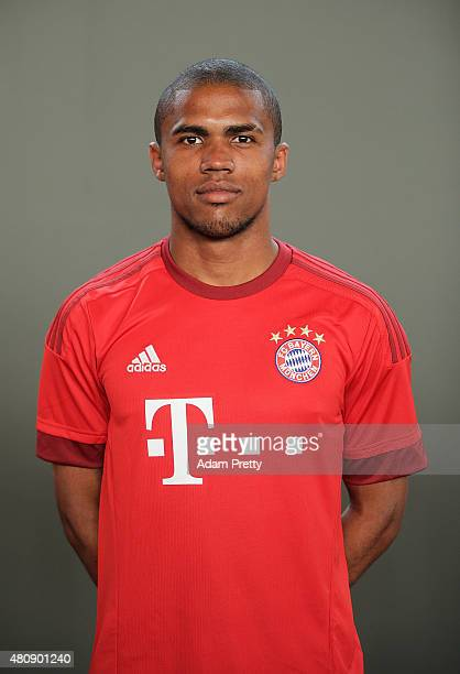 Douglas Costa of Bayern Muenchen poses for a picture during the FC Bayern Muenchen Team Presentation at Bayern Muenchen Saebener Str on July 16 2015...