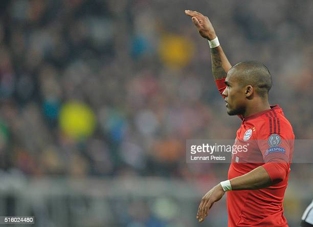 Douglas Costa of Bayern Muenchen reacts during the UEFA Champions League Round of 16 second leg match between FC Bayern Muenchen and Juventus Turin...