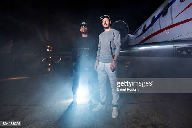 Douglas Costa of Brazil and Mathew Leckie of Australia pose for a photo during the Nike 'No Turning Back' Fan Meet Greet at Hangar 85 on June 10 2017...