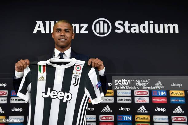 Douglas Costa of Juventus attends a press conference on July 17 2017 in Turin Italy
