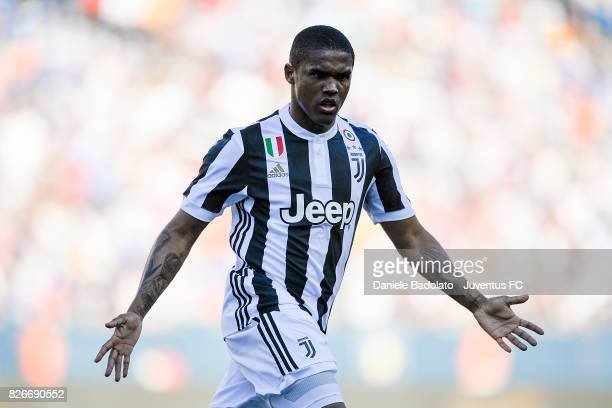 Douglas Costa of Juventus in action during the International Champions Cup 2017 match between AS Roma and Juventus at Gillette Stadium on July 30...
