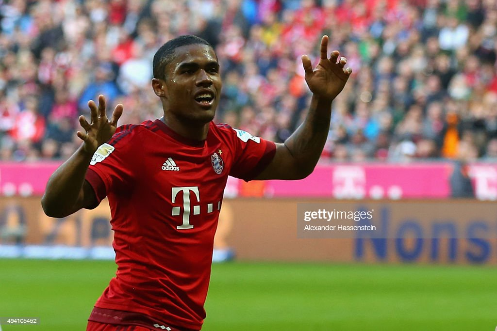 Douglas Costa of Muenchen reacts during the Bundesliga match between FC Bayern Muenchen and 1 FC Koeln at Allianz Arena on October 24 2015 in Munich...