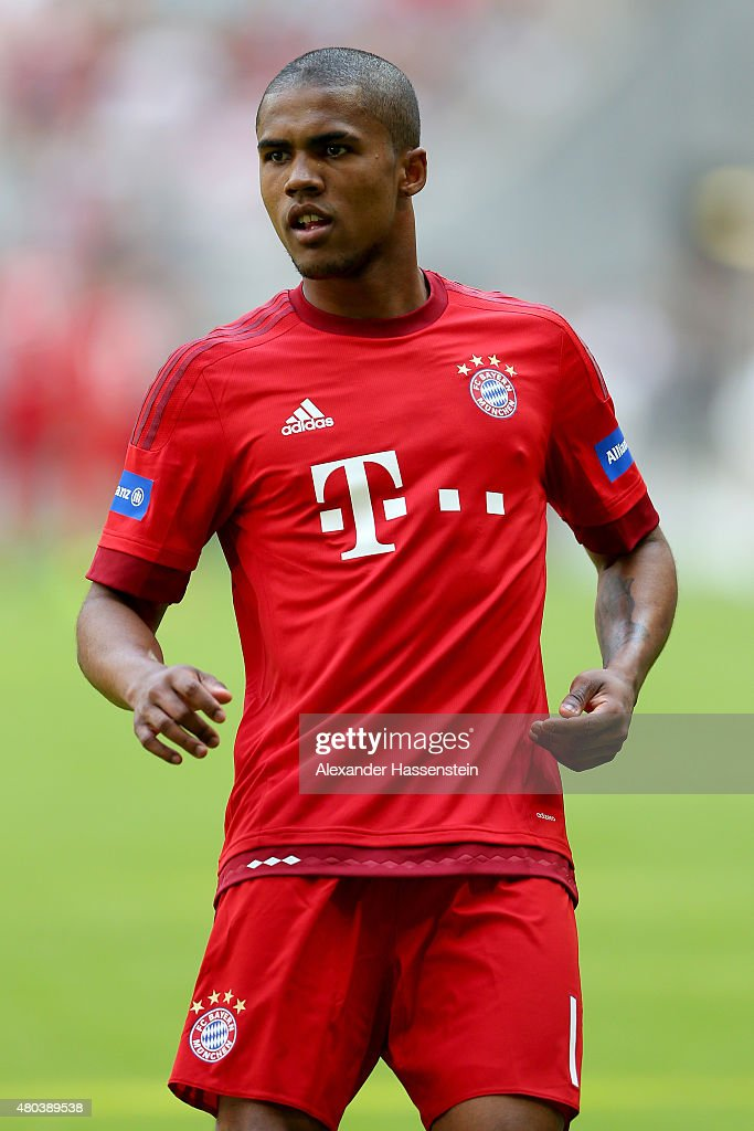 Douglas Coste looks on during a FC Bayern Muenchen training session after the FC Bayern Muenchen season opening and team presentation at Allianz...