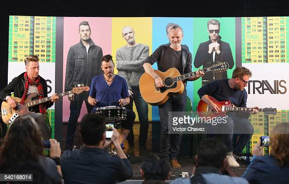 Douglas 'Dougie' Payne Neil Primrose Fran Healy and Andy Dunlop of british band Travis perform a showcase at Universal Music on June 14 2016 in...