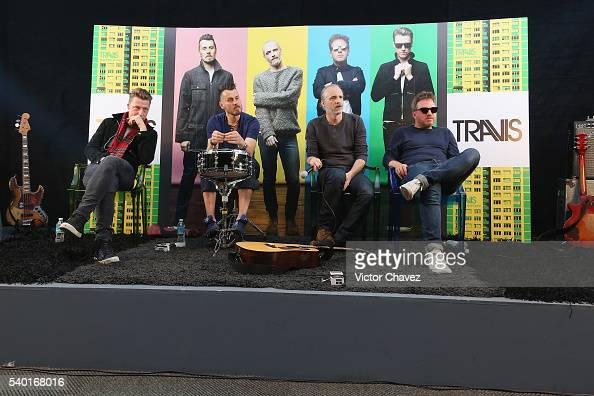 Douglas 'Dougie' Payne Neil Primrose Fran Healy and Andy Dunlop of british band Travis attend a press conference at Universal Music on June 14 2016...