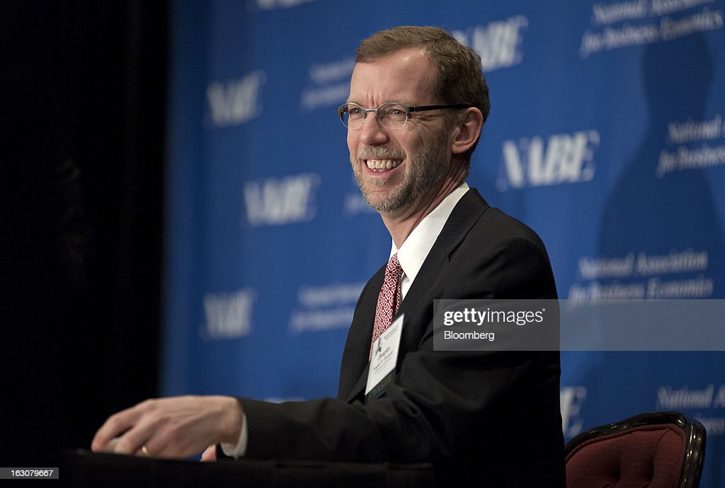 "Douglas Elmendorf, director of the Congressional Budget Office, laughs during a speech to the National Association of Business Economics (NABE) 2013 Economic Policy Conference in Washington, D.C., U.S., on Monday, March 4, 2013. Key U.S. monetary and fiscal policymakers will gather to discuss this year's conference theme: ""Global Challenges, Domestic Choices: Options for Economic Policy."" Photographer: Joshua Roberts/Bloomberg via Getty Images"