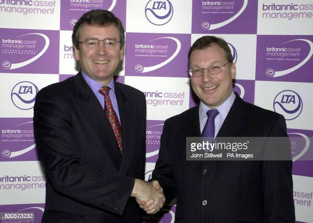 Douglas Ferrans the M D of Britannic Asset managemant shakes hands with John Crowther the Chief Executive of the LTA They announced that Britannic...