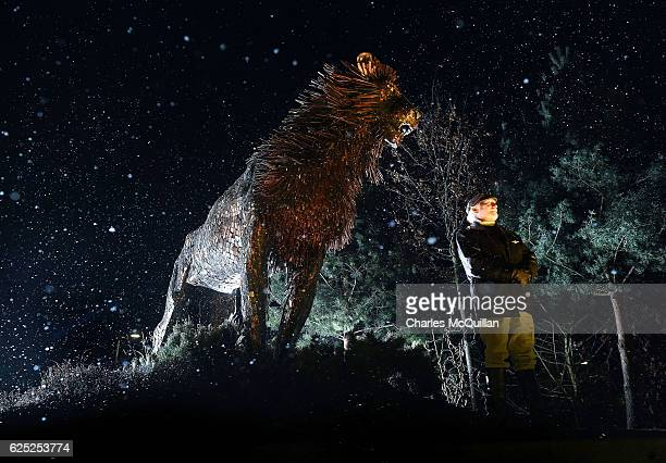 Douglas Gresham the adopted son of the children's author CS Lewis stands beside a bronze sculpture of CS Lewis' most famous character the lion Aslan...
