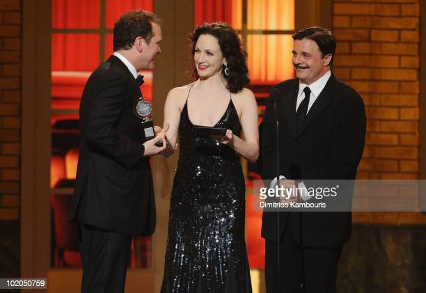 Douglas Hodge Bebe Neuwirth and Nathan Lane onstage during the 64th Annual Tony Awards at Radio City Music Hall on June 13 2010 in New York City