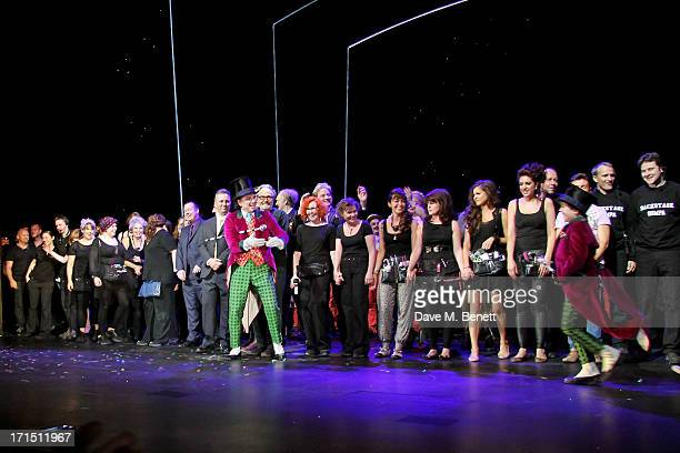 Douglas Hodge introduces 'Charlie' Jack Costello at the curtain call during the press night performance of 'Charlie And The Chocolate Factory' at the...