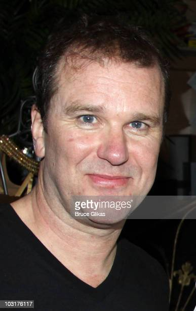 Douglas Hodge poses backstage at 'La Cage Aux Folles' on Broadway at The Longacre Theatre on July 29 2010 in New York City