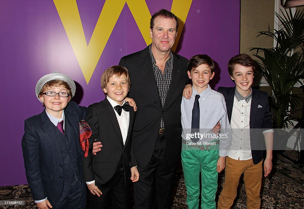 <a gi-track='captionPersonalityLinkClicked' href=/galleries/search?phrase=Douglas+Hodge&family=editorial&specificpeople=690764 ng-click='$event.stopPropagation()'>Douglas Hodge</a> (C) poses with Charlie actors Louis Suc, Jack Costello, Tom Klenerman and Isaac Rouse at an after party celebrating the press night performance of 'Charlie And The Chocolate Factory' at The Grand Connaught Rooms on June 25, 2013 in London, England.