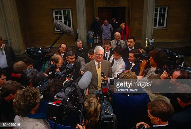 Douglas Hurd MP confronts media outside his Mid Oxfordshire constituency office during his leadership bid for the Conservative party on 23rd November...