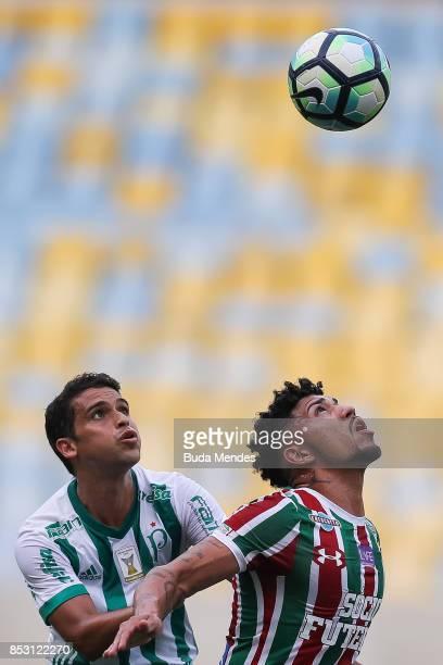 Douglas of Fluminense struggles for the ball with Jean of Palmeiras during a match between Fluminense and Palmeiras as part of Brasileirao Series A...