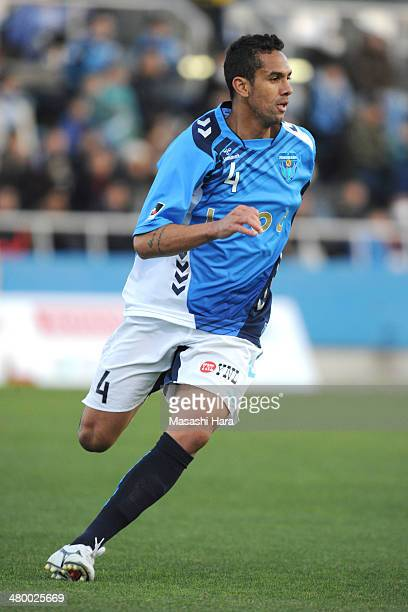Douglas of Yokohama FC runs during the JLeague second division match between Yokohama FC v Montedio Yamagata at Nippatsu Mitsuzawa Stadium on March...