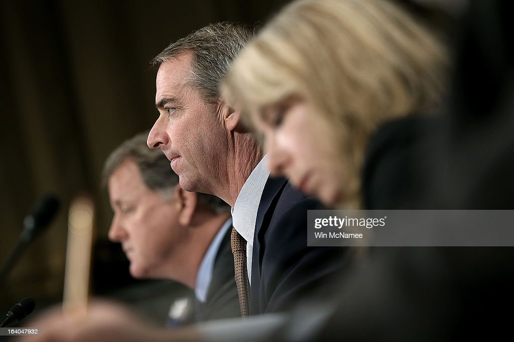 Douglas Parker, chairman and CEO of the US Airways Group; Thomas Horton, chairman of the president and CEO of American Airlines; Diana Moss, director and vice president of the American Antitrust Institute testify during a hearing of the Senate Judiciary Committee on Capitol Hill March 19, 2013 in Washington, DC. Parker and Horton testified before the committee on the topic of 'The American Airlines/US Airways Merger: Consolidation, Competition, and Consumers.'