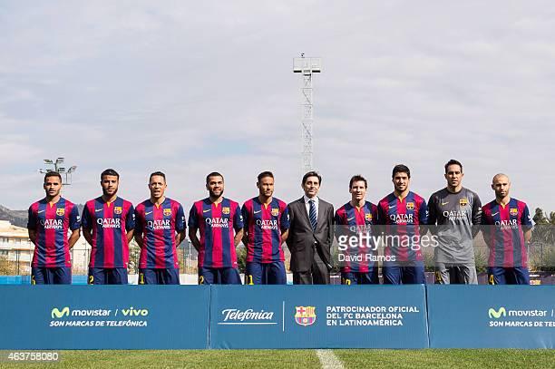 Douglas Rafinha Adriano Correia Dani Alves Neymar Telefonica CEO Jose Maria Alvarez Pallete Lionel Messi Luis Suarez Claudio Bravo and Javier...