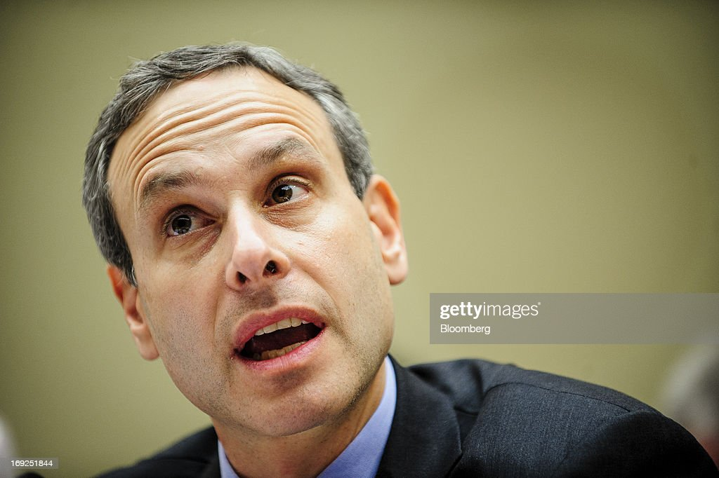 Douglas Shulman, former commissioner of the Internal Revenue Service (IRS), speaks during a House Oversight and Government Reform Committee hearing in Washington, D.C., U.S., on Wednesday, May 22, 2013. Lois Lerner, the mid-level IRS official at the center of a controversy over treatment of small-government groups, invoked her right not to testify after reading a statement denying that she had committed any crimes. Photographer: Pete Marovich/Bloomberg via Getty Images
