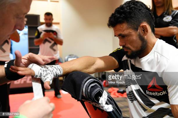 Douglas Silva de Andrade of Brazil gets his hands wrapped backstage during the UFC 213 event at TMobile Arena on July 8 2017 in Las Vegas Nevada