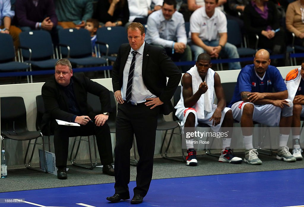 Douglas Spradley, head coach of Bremerhaven looks on during the Beko BBL basketball match between Eisbaeren Bremerhaven and Nackar RIESEN Ludwigsburg at the Stadthalle on November 4, 2012 in Bremerhaven, Germany.