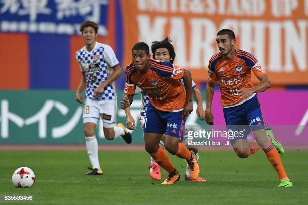 Douglas Tanque of Albirex Niigata in action during the JLeague J1 match between Albirex Niigata and Vegalta Sendai at Denka Big Swan Stadium on...