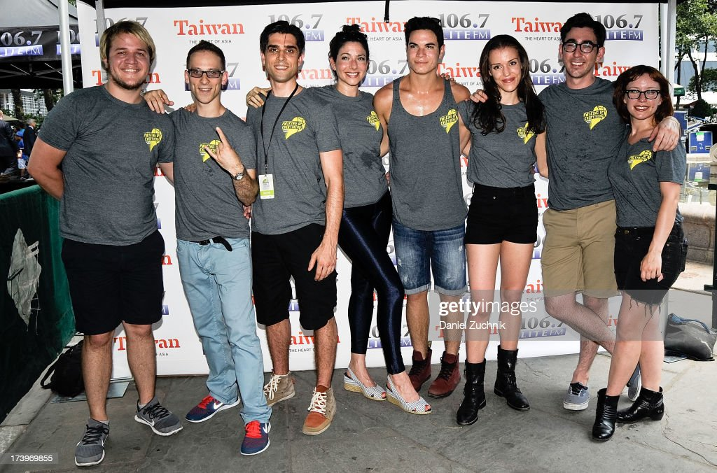 Douglas Widick, Adam Stoler, Adam Miller, Lisa Birnbaum, Jason Gotay, Katherine Cozumel, Max Crumm and Dawn Cantwell from 'F#%king Up Everything' attend 106.7 LITE FM's Broadway in Bryant Park 2013 at Bryant Park on July 18, 2013 in New York City.