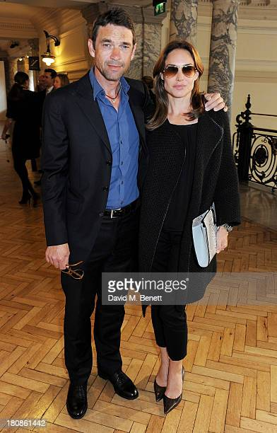 Dougray Scott and Claire Forlani attend the Anya Hindmarch presentation during London Fashion Week SS14 at Central Hall Westminster on September 17...