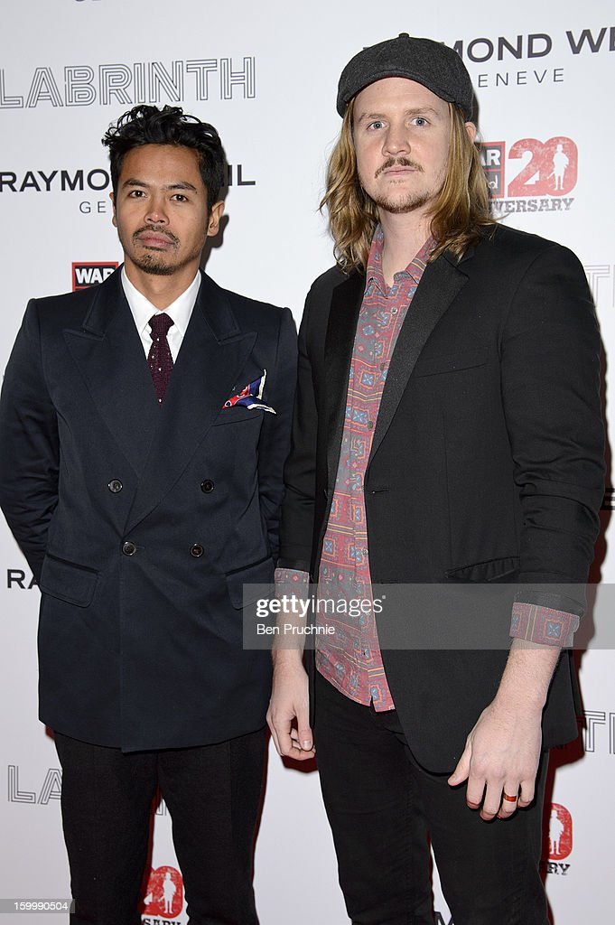 Dougy Mandagi and Jonathon Aherne of Temper Trap attends the Raymond Weil pre-Brit Awards dinner and 20th anniversary celebration of War Child at The Mosaica on January 24, 2013 in London, England.