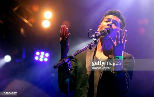 Dougy Mandagi of Australian indie rock band The Temper Trap performs live on stage during the fifth night of the Summer Series at Somerset House on...