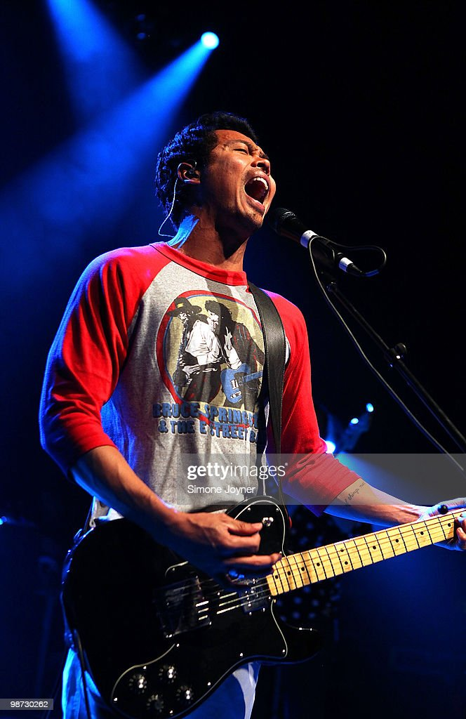 Dougy Mandagi of Australian indie rock band The Temper Trap performs live on stage at Shepherds Bush Empire on April 28 2010 in London England