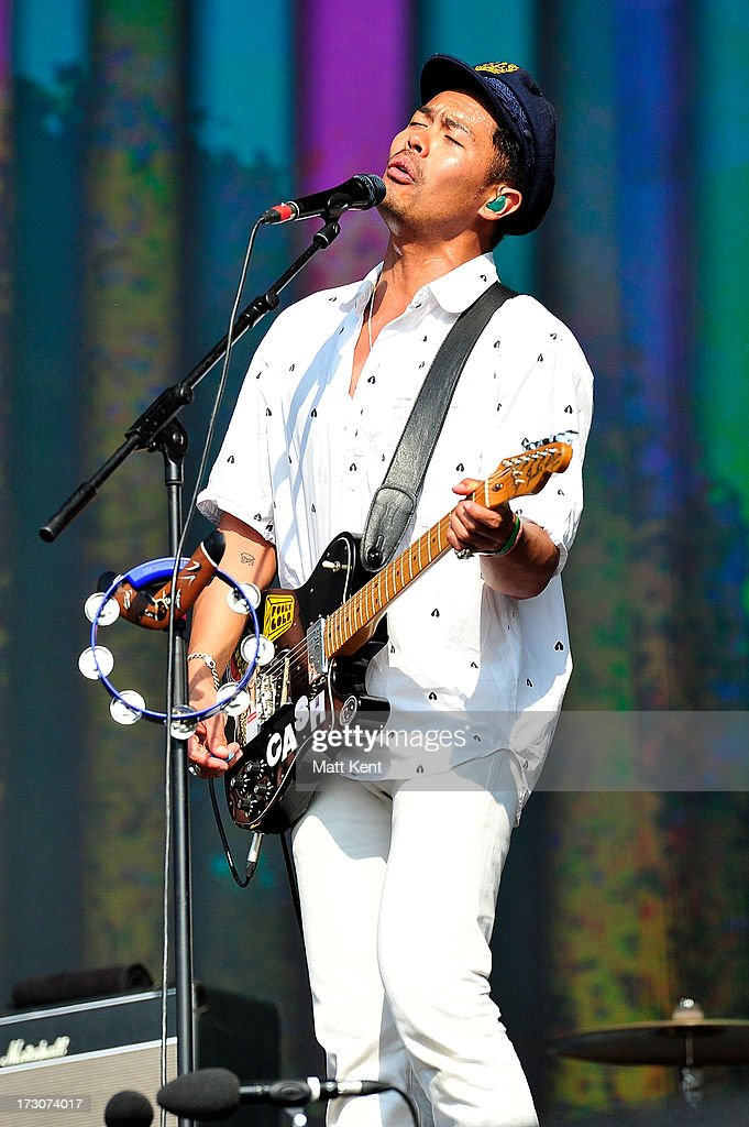 Dougy Mandagi of The Temper Trap performs at day 2 of British Summer Time Hyde Park presented by Barclaycard at Hyde Park on July 6 2013 in London...